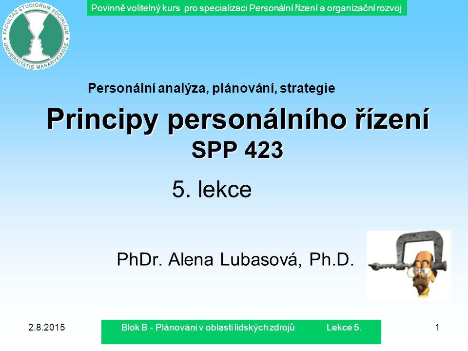 Povinně volitelný kurs pro specializaci Personální řízení a organizační rozvoj 2.8.2015Blok B - Plánování v oblasti lidských zdrojů Lekce 5.1 Principy
