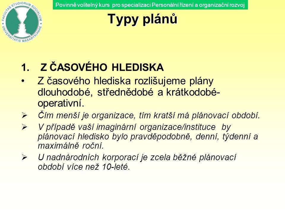 Povinně volitelný kurs pro specializaci Personální řízení a organizační rozvoj Typy plánů 1. Z ČASOVÉHO HLEDISKA Z časového hlediska rozlišujeme plány