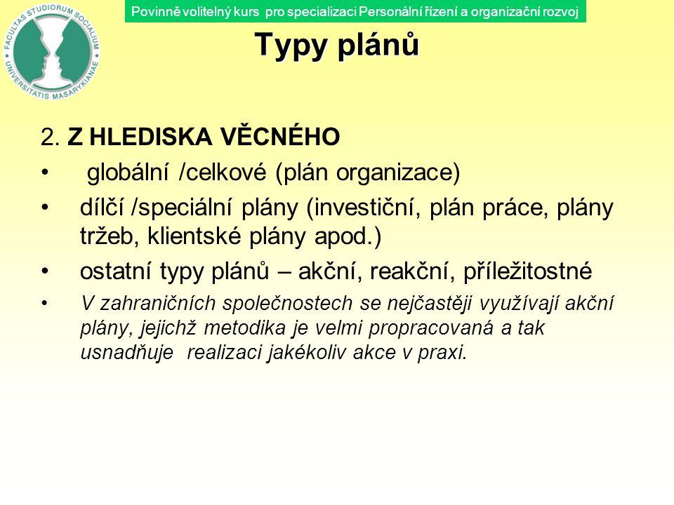 Povinně volitelný kurs pro specializaci Personální řízení a organizační rozvoj Typy plánů 2. Z HLEDISKA VĚCNÉHO globální /celkové (plán organizace) dí