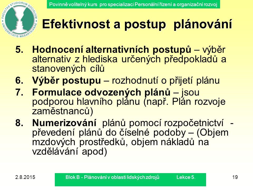Povinně volitelný kurs pro specializaci Personální řízení a organizační rozvoj 2.8.2015Blok B - Plánování v oblasti lidských zdrojů Lekce 5.19 Efektiv