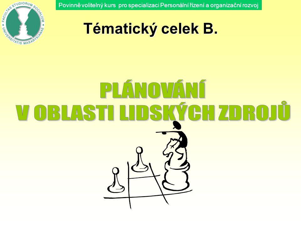 Povinně volitelný kurs pro specializaci Personální řízení a organizační rozvoj Tématický celek B.