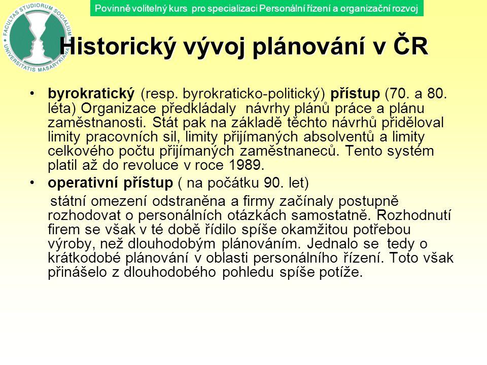 Povinně volitelný kurs pro specializaci Personální řízení a organizační rozvoj Historický vývoj plánování v ČR byrokratický (resp. byrokraticko-politi
