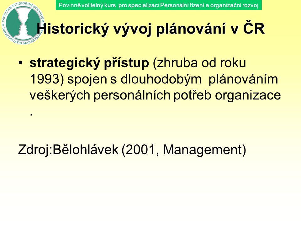 Povinně volitelný kurs pro specializaci Personální řízení a organizační rozvoj Historický vývoj plánování v ČR strategický přístup (zhruba od roku 199