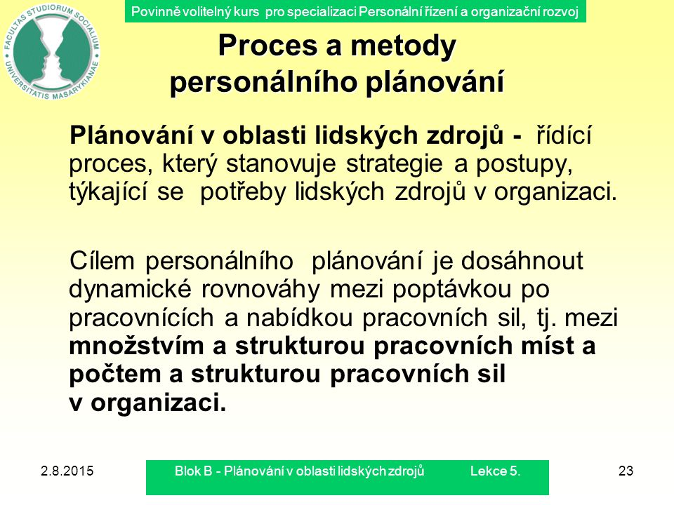 Povinně volitelný kurs pro specializaci Personální řízení a organizační rozvoj 2.8.2015Blok B - Plánování v oblasti lidských zdrojů Lekce 5.23 Proces