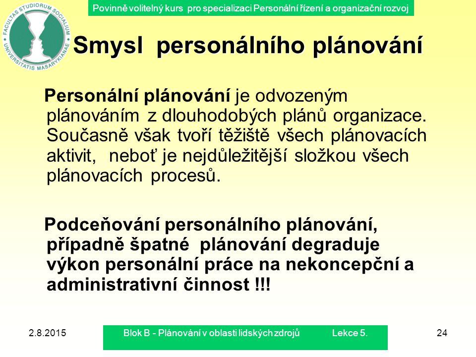 Povinně volitelný kurs pro specializaci Personální řízení a organizační rozvoj 2.8.2015Blok B - Plánování v oblasti lidských zdrojů Lekce 5.24 Smysl p