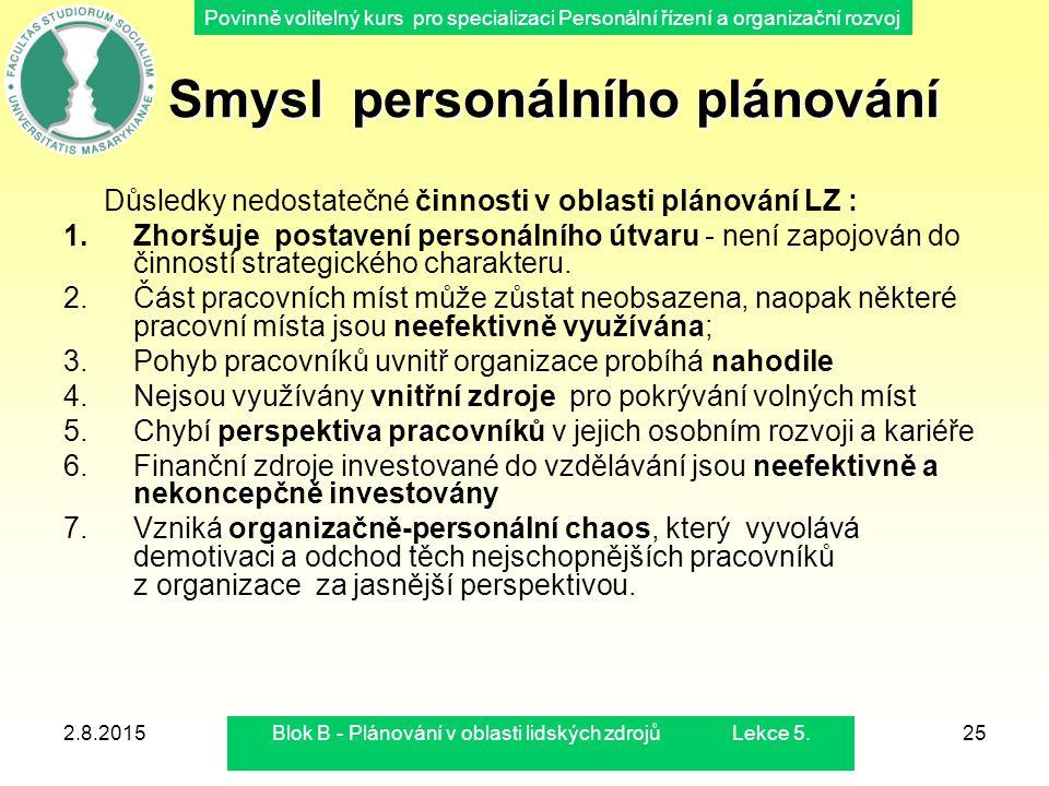 Povinně volitelný kurs pro specializaci Personální řízení a organizační rozvoj 2.8.2015Blok B - Plánování v oblasti lidských zdrojů Lekce 5.25 Smysl p