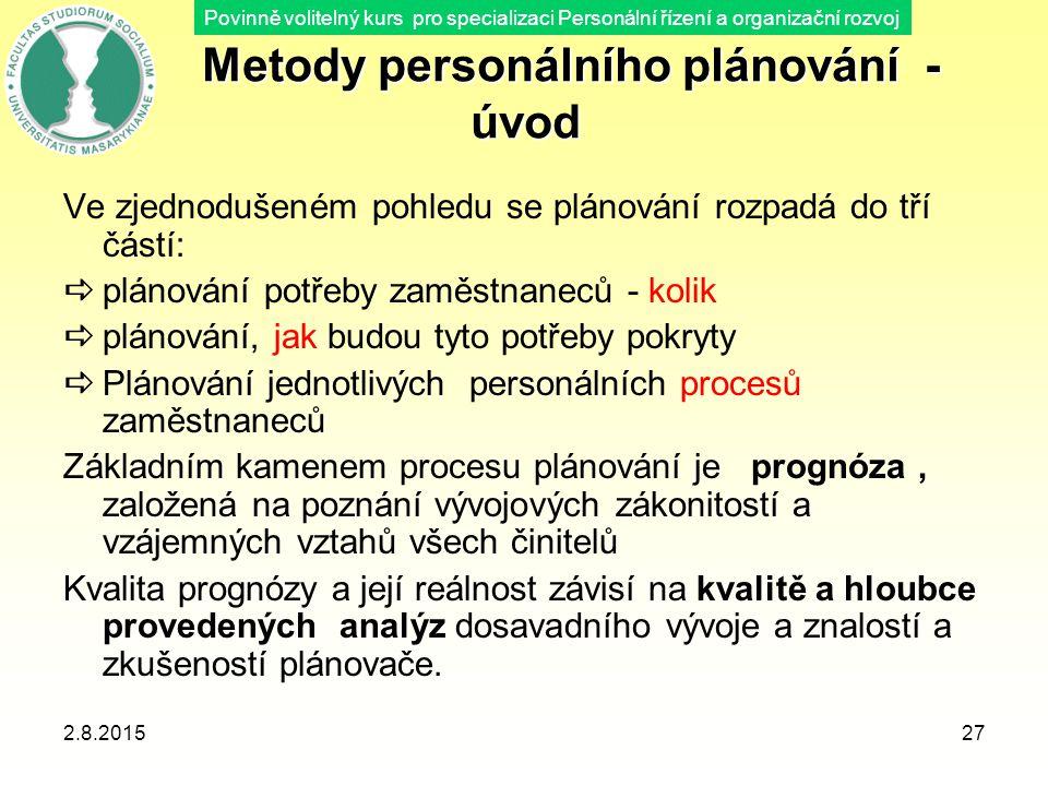 Povinně volitelný kurs pro specializaci Personální řízení a organizační rozvoj 2.8.2015Blok B - Plánování v oblasti lidských zdrojů Lekce 5.27 Metody