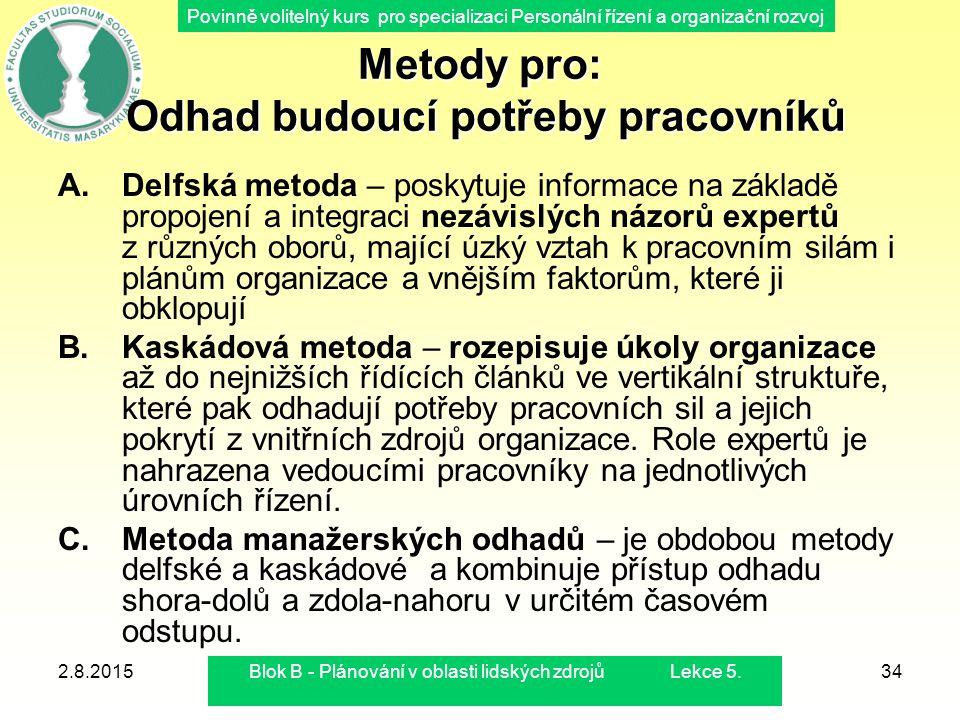 Povinně volitelný kurs pro specializaci Personální řízení a organizační rozvoj 2.8.2015Blok B - Plánování v oblasti lidských zdrojů Lekce 5.34 Metody