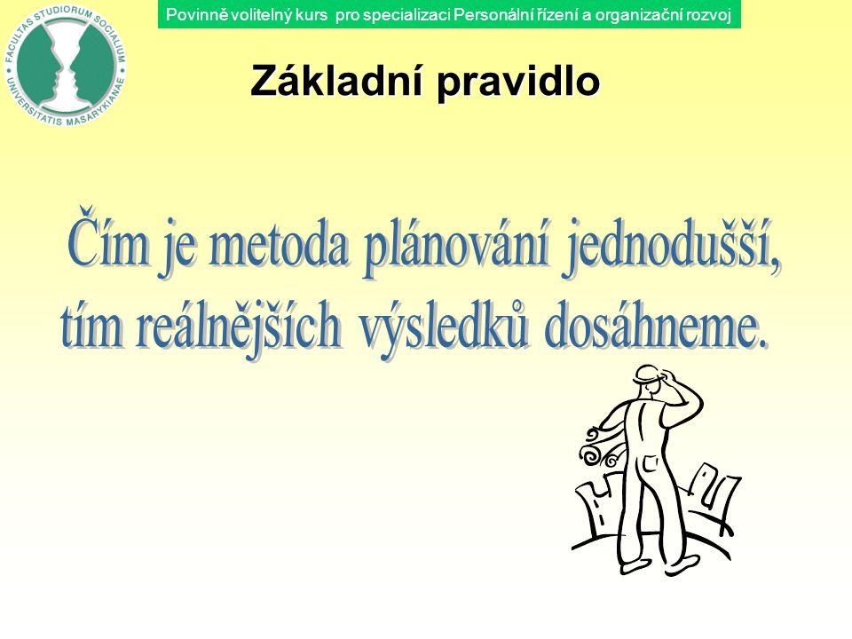 Povinně volitelný kurs pro specializaci Personální řízení a organizační rozvoj Základní pravidlo