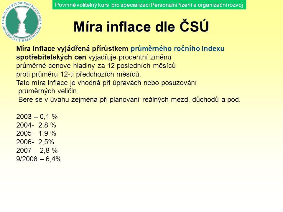 Povinně volitelný kurs pro specializaci Personální řízení a organizační rozvoj Míra inflace dle ČSÚ Míra inflace vyjádřená přírůstkem průměrného roční