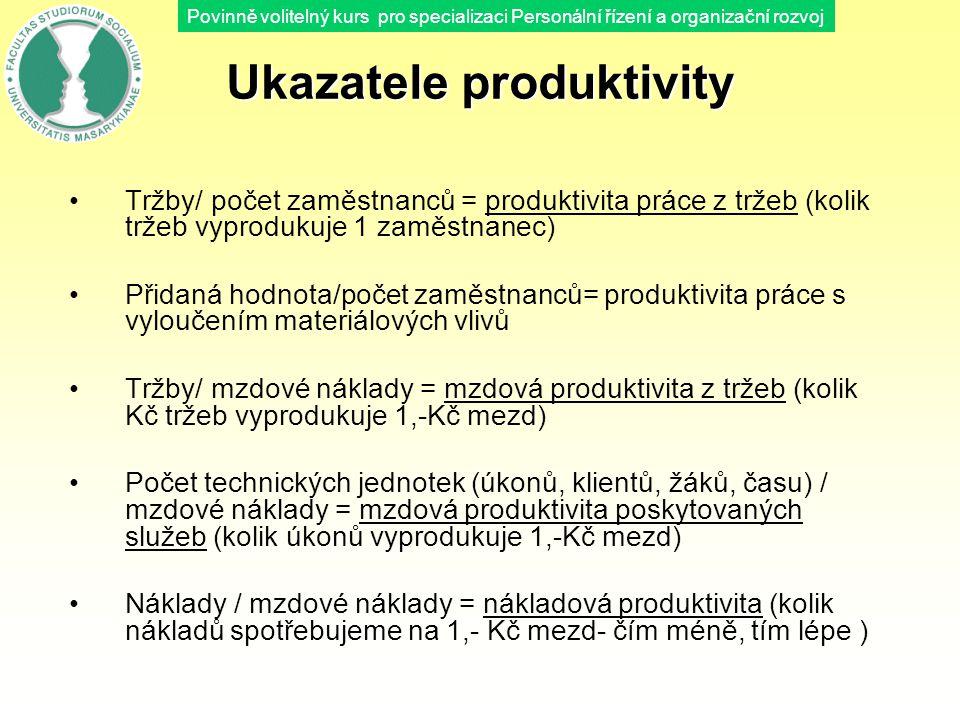 Povinně volitelný kurs pro specializaci Personální řízení a organizační rozvoj Ukazatele produktivity Tržby/ počet zaměstnanců = produktivita práce z