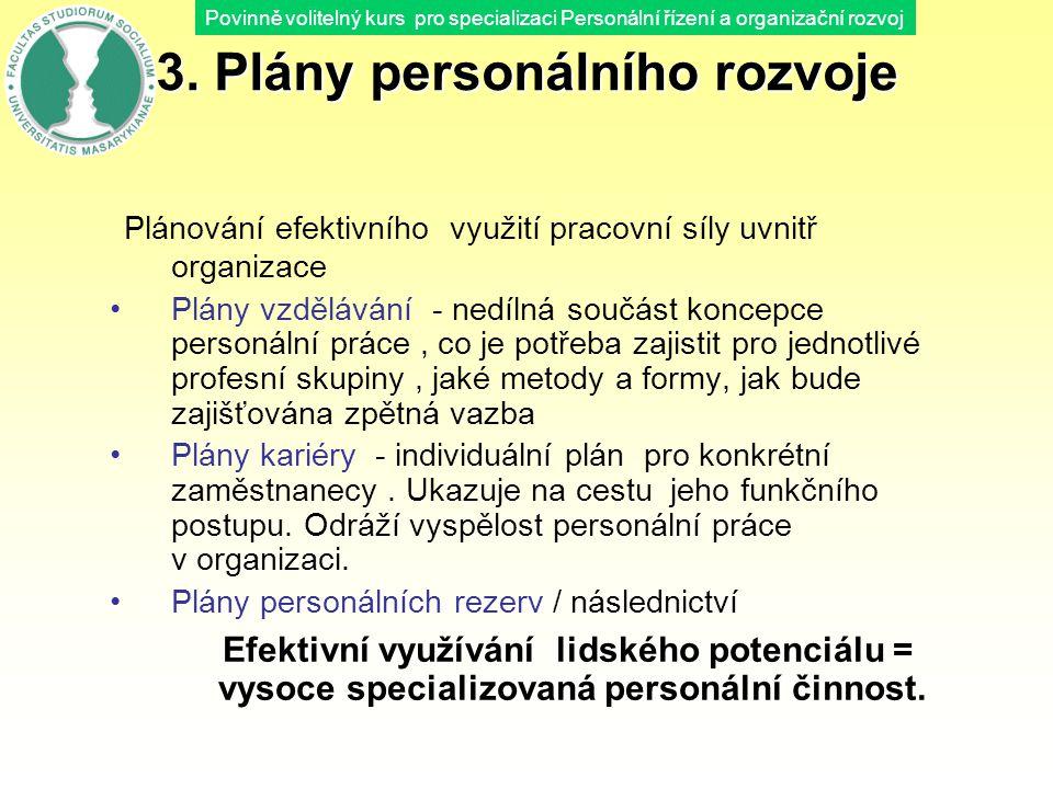 Povinně volitelný kurs pro specializaci Personální řízení a organizační rozvoj 3. Plány personálního rozvoje Plánování efektivního využití pracovní sí