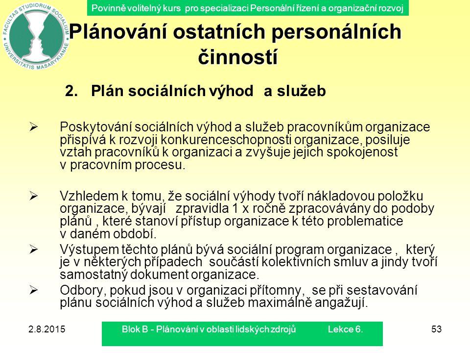 Povinně volitelný kurs pro specializaci Personální řízení a organizační rozvoj 2.8.2015Blok B - Plánování v oblasti lidských zdrojů Lekce 6.53 Plánová