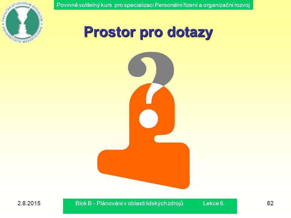 Povinně volitelný kurs pro specializaci Personální řízení a organizační rozvoj 2.8.2015Blok B - Plánování v oblasti lidských zdrojů Lekce 6.62 Prostor