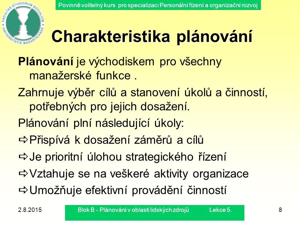 Povinně volitelný kurs pro specializaci Personální řízení a organizační rozvoj 2.8.2015Blok B - Plánování v oblasti lidských zdrojů Lekce 5.8 Charakte