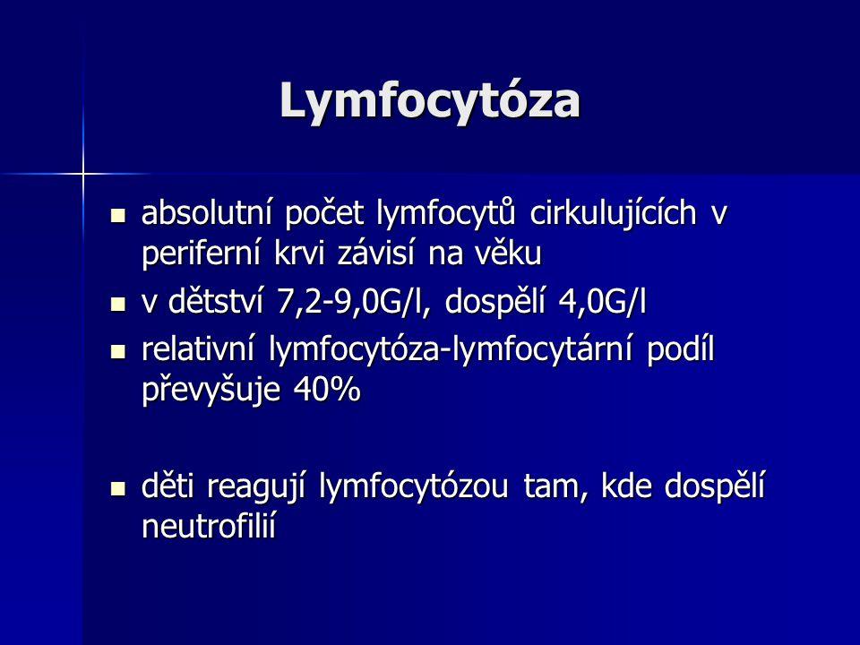 Lymfocytóza Lymfocytóza absolutní počet lymfocytů cirkulujících v periferní krvi závisí na věku absolutní počet lymfocytů cirkulujících v periferní krvi závisí na věku v dětství 7,2-9,0G/l, dospělí 4,0G/l v dětství 7,2-9,0G/l, dospělí 4,0G/l relativní lymfocytóza-lymfocytární podíl převyšuje 40% relativní lymfocytóza-lymfocytární podíl převyšuje 40% děti reagují lymfocytózou tam, kde dospělí neutrofilií děti reagují lymfocytózou tam, kde dospělí neutrofilií