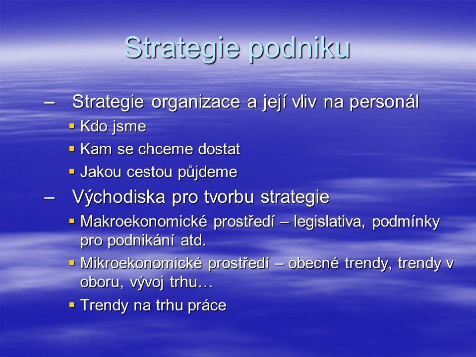 Strategie podniku –Strategie organizace a její vliv na personál  Kdo jsme  Kam se chceme dostat  Jakou cestou půjdeme –Východiska pro tvorbu strategie  Makroekonomické prostředí – legislativa, podmínky pro podnikání atd.