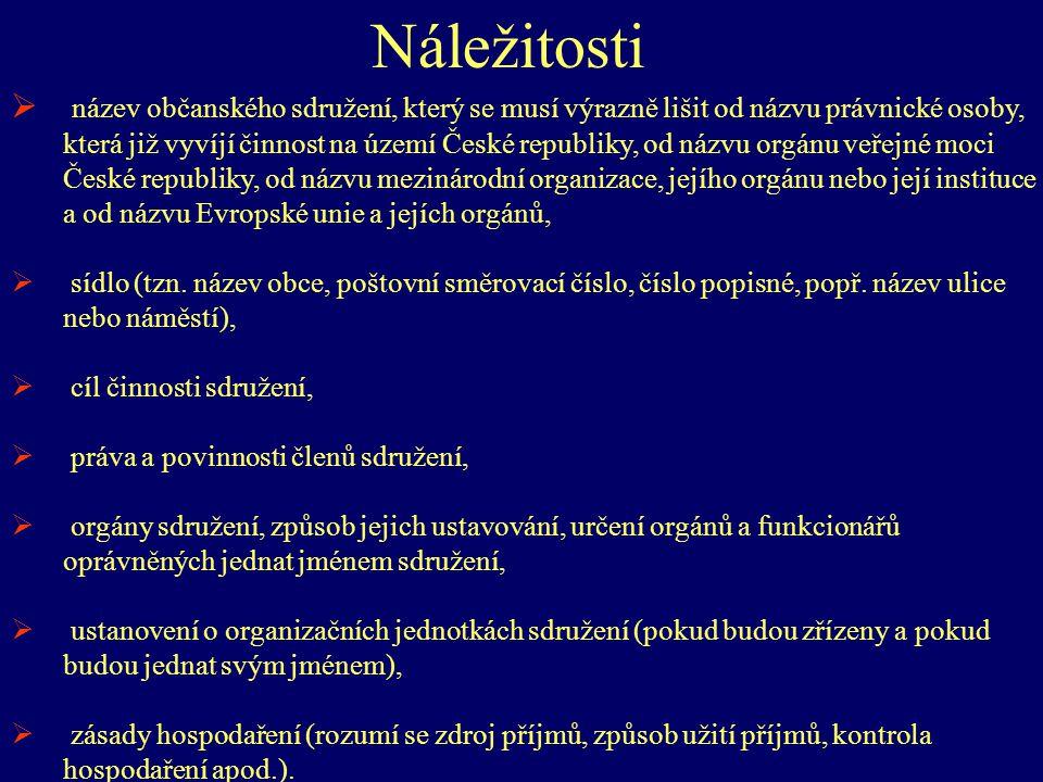 Náležitosti  název občanského sdružení, který se musí výrazně lišit od názvu právnické osoby, která již vyvíjí činnost na území České republiky, od n