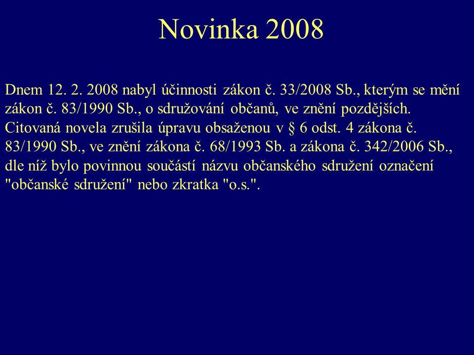 Novinka 2008 Dnem 12. 2. 2008 nabyl účinnosti zákon č. 33/2008 Sb., kterým se mění zákon č. 83/1990 Sb., o sdružování občanů, ve znění pozdějších. Cit