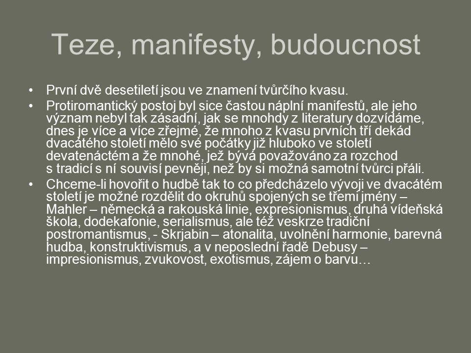 """Feruccio Busoni (1866 – 1924) první projekt nové hudby 1907 – Návrh nové estetiky hudebního umění –Manifest svobody v umělecké tvorbě """"Hudební umění se zrodilo svobodné a svobodné je též jeho určení Tradice je """"posmrtná maska, sňatý z tváře života, jež prošla mnoha lety a rukama nespočetných řemeslníků, takže nakonec jen tušíme její podobnost s originálem """"Úkolem tvůrčího umělce je vynalézat nové zákony a nepodřizovat se starým, Kdo se podrobuje zákonům již daným, přestává být tvůrčím umělcem. –uvažuje též o otevřenosti formy – """"obraz západu slunce na obzoru končí rámem –""""TAK JAKO UMĚLEC TAM, KDE MÁ DOJÍMAT, SÁM NESMÍ BÝT DOJAT – NEMÁ-LI V DANÉM OKAMŽIKU ZTRATIT VLÁDU NAD SVÝMI PROSTŘEDKY – TAK ANI DIVÁK, MÁ-LI DIVADELNÍ ÚČInek vychutnat, nesmí jej pokládati za skutečnost, aby umělecký zážitek neklesl jen na lidskou účast. V zápětí však s určitou skepsí doplňuje: """"Není totiž známo obecenstvu – ani si toho nepřeje vědět – že musí na uměleckém díle sám posluchač vykonat polovinu práce, aby bylo vůbec přijato. –Nejradikálnější jsou Busoniho návrhy v oblasti zvukového materiálu, jeho rozsahu, kvality a uspořádání."""