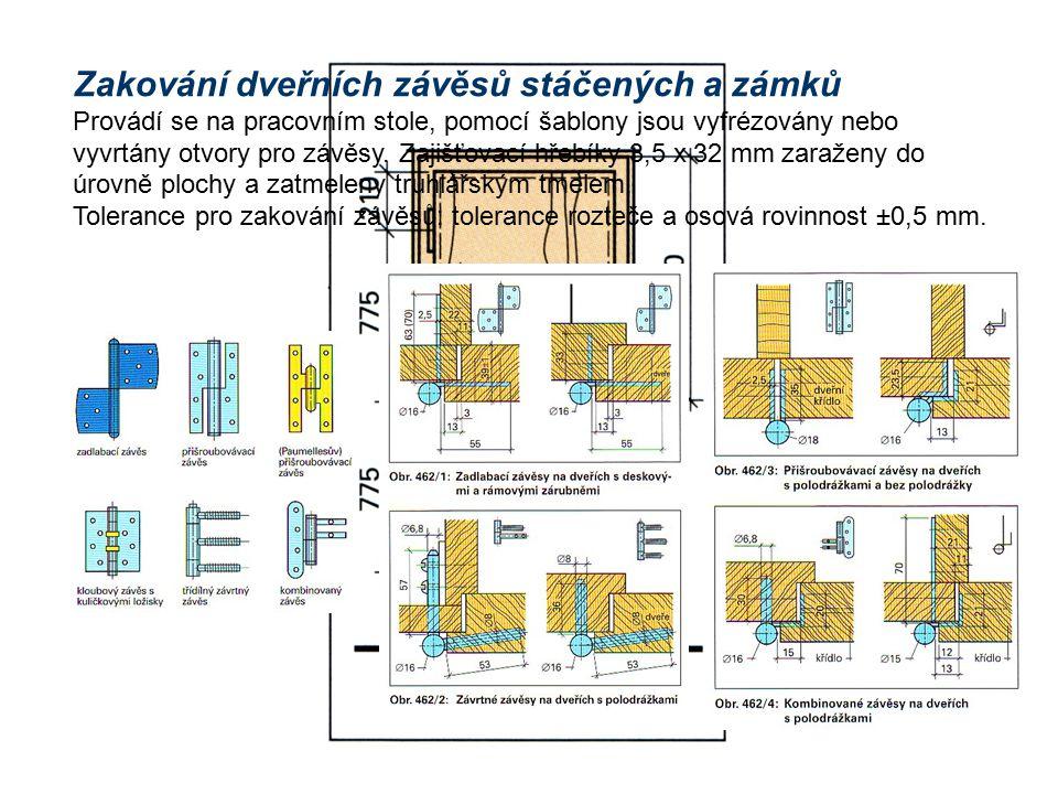 Zakování dveřních závěsů stáčených a zámků Provádí se na pracovním stole, pomocí šablony jsou vyfrézovány nebo vyvrtány otvory pro závěsy.