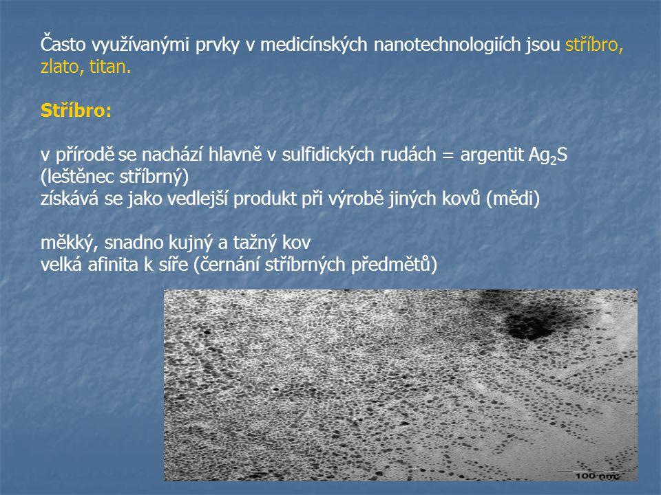 V medicíně jsou důležité zejména mikrobicidní vlastnosti nanostříbra strukturální změny v bakteriálních buněčných stěnách inhibuje respirační proces denaturace proteinů inhibice replikace (http://www.silversol.us/wp- content/uploads/2009/10/silver- bacteria.gif)