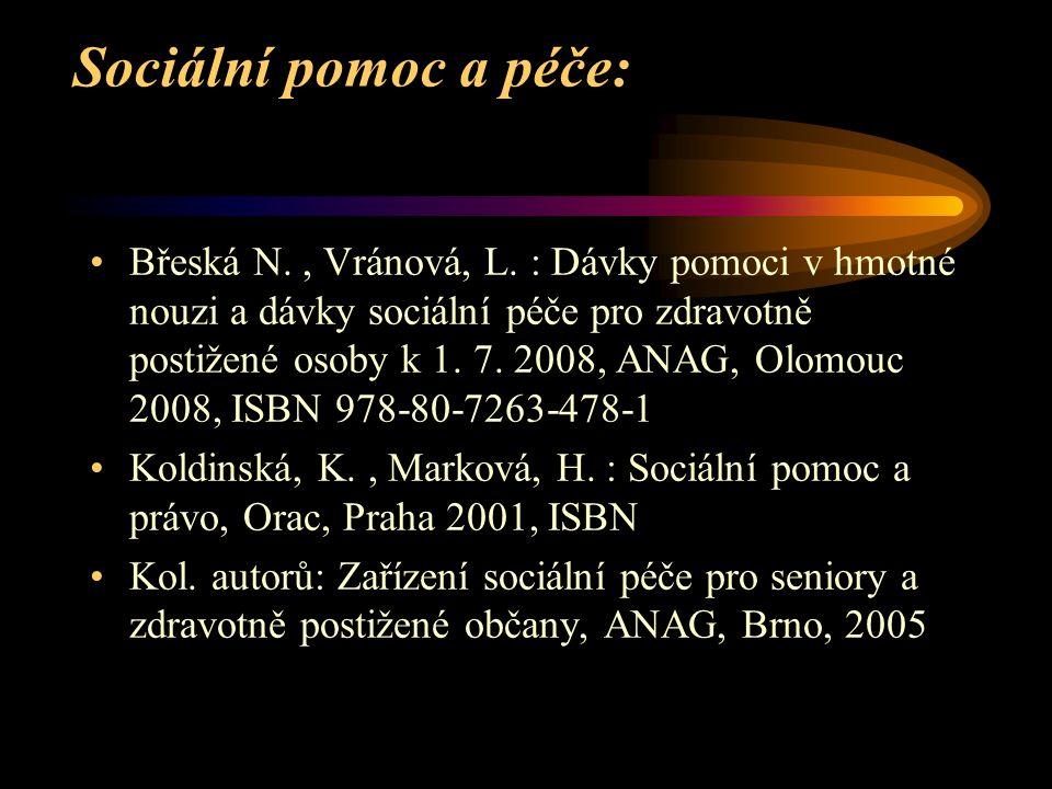 Sociální pomoc a péče: Břeská N., Vránová, L. : Dávky pomoci v hmotné nouzi a dávky sociální péče pro zdravotně postižené osoby k 1. 7. 2008, ANAG, Ol