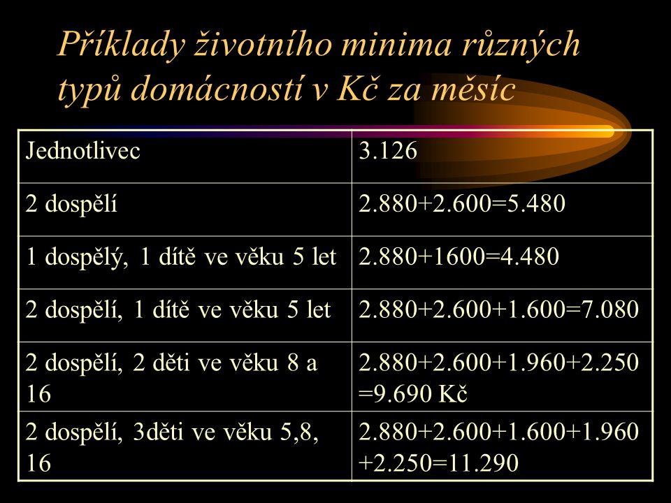 Příklady životního minima různých typů domácností v Kč za měsíc Jednotlivec3.126 2 dospělí2.880+2.600=5.480 1 dospělý, 1 dítě ve věku 5 let2.880+1600=