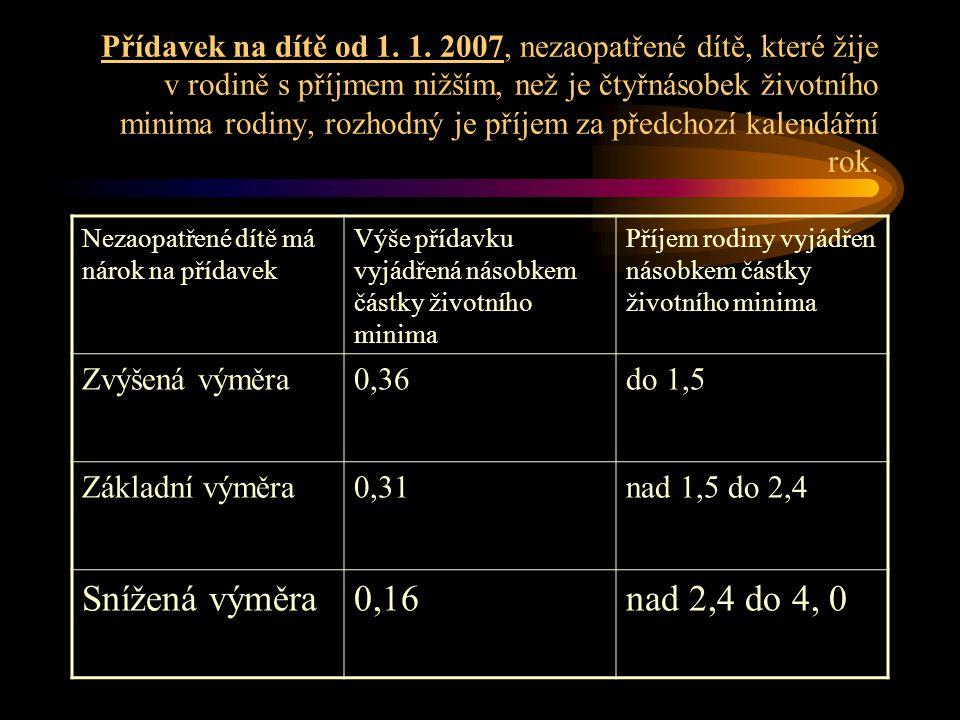 Přídavek na dítě od 1. 1. 2007, nezaopatřené dítě, které žije v rodině s příjmem nižším, než je čtyřnásobek životního minima rodiny, rozhodný je příje
