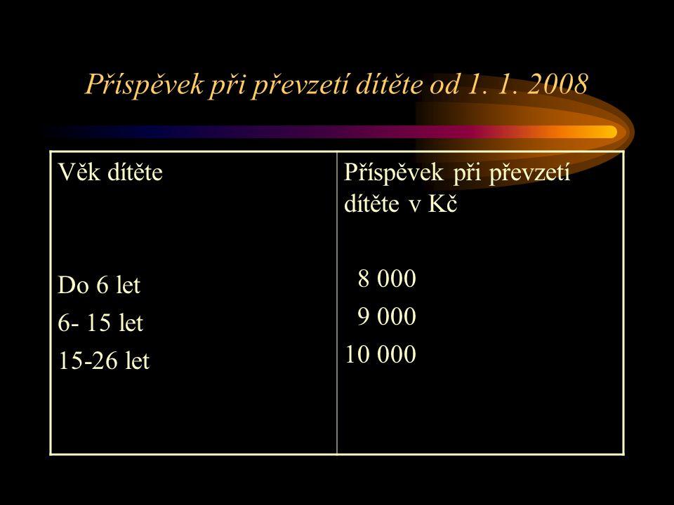 Příspěvek při převzetí dítěte od 1. 1. 2008 Věk dítěte Do 6 let 6- 15 let 15-26 let Příspěvek při převzetí dítěte v Kč 8 000 9 000 10 000