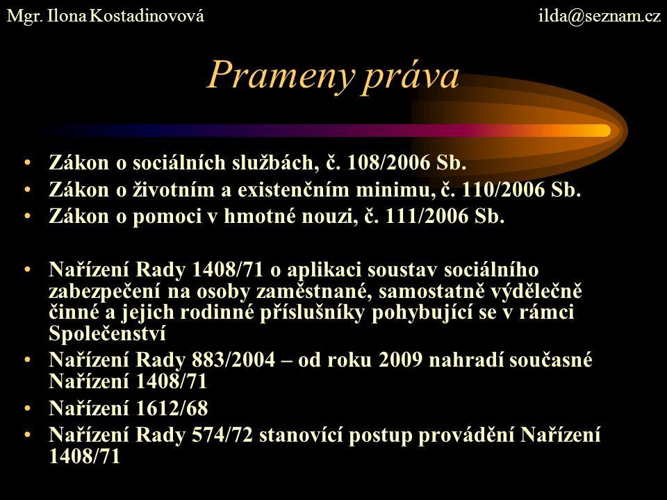 Prameny práva Zákon o sociálních službách, č. 108/2006 Sb. Zákon o životním a existenčním minimu, č. 110/2006 Sb. Zákon o pomoci v hmotné nouzi, č. 11