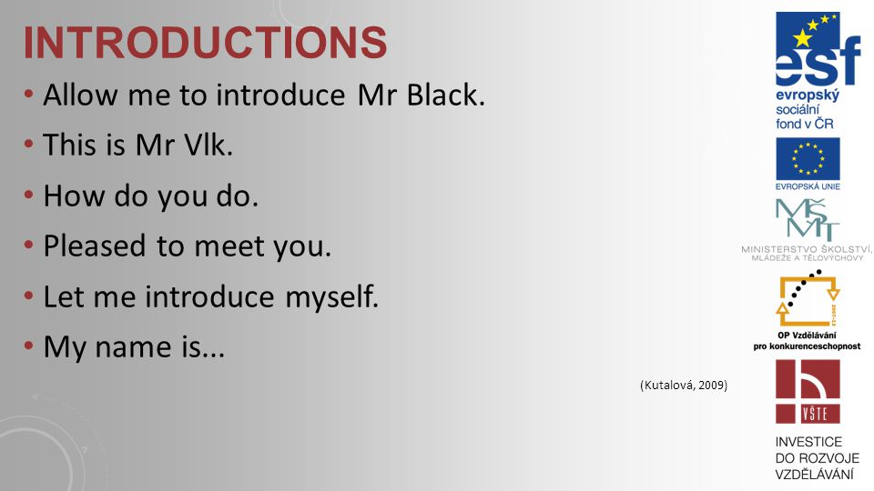 INTRODUCTIONS Allow me to introduce Mr Black.This is Mr Vlk.