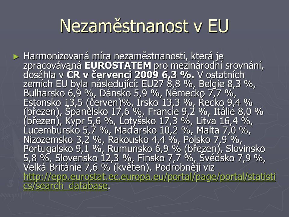 Nezaměstnanost v EU ► Harmonizovaná míra nezaměstnanosti, která je zpracovávaná EUROSTATEM pro mezinárodní srovnání, dosáhla v ČR v červenci 2009 6,3