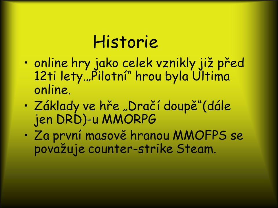 """Historie online hry jako celek vznikly již před 12ti lety.""""Pilotní hrou byla Ultima online."""