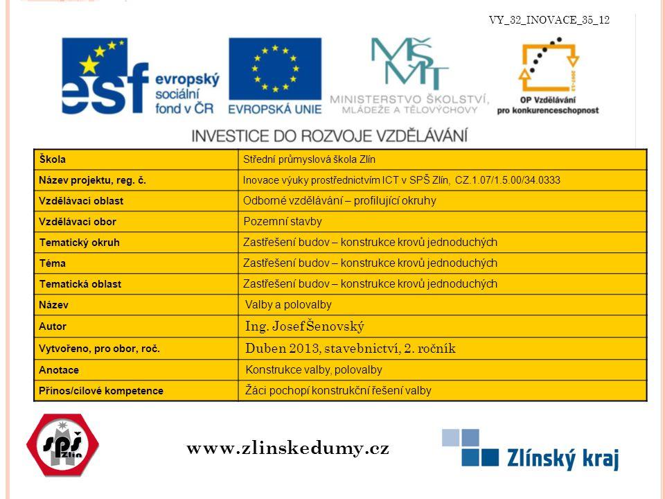VY_32_INOVACE_35_12 www.zlinskedumy.cz ŠkolaStřední průmyslová škola Zlín Název projektu, reg.