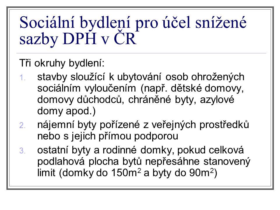 Sociální bydlení pro účel snížené sazby DPH v ČR Tři okruhy bydlení: 1.