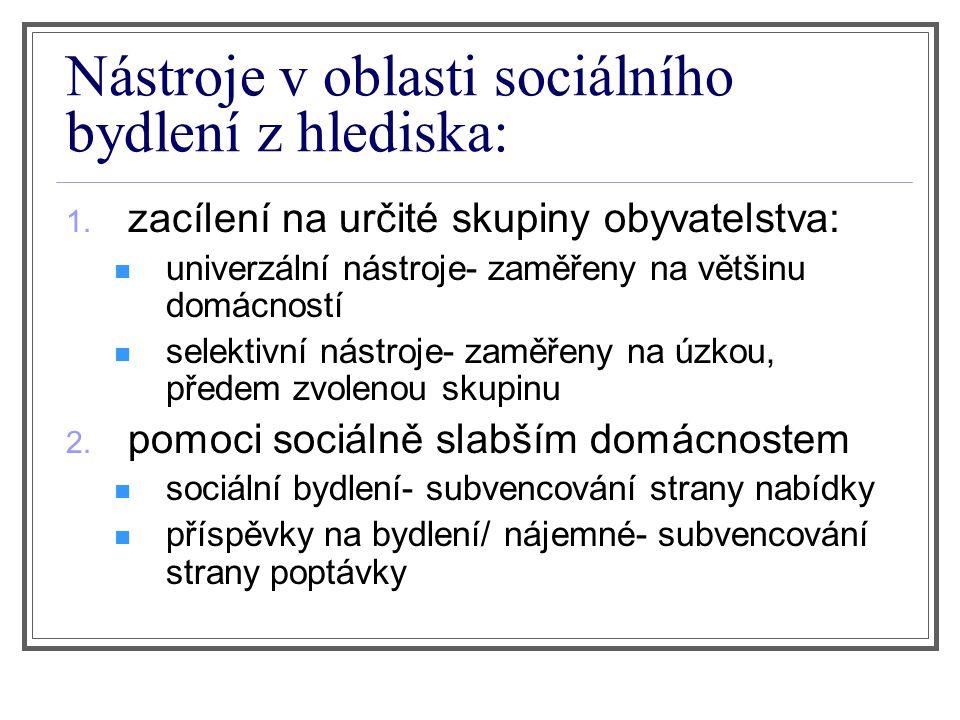 Nástroje v oblasti sociálního bydlení z hlediska: 1.