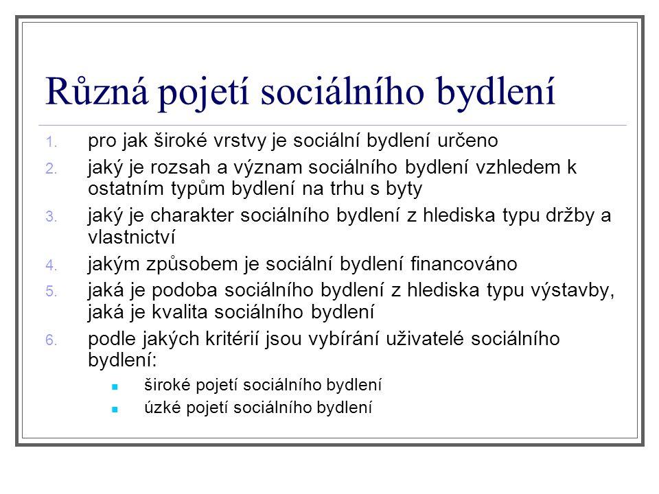 Různá pojetí sociálního bydlení 1. pro jak široké vrstvy je sociální bydlení určeno 2.