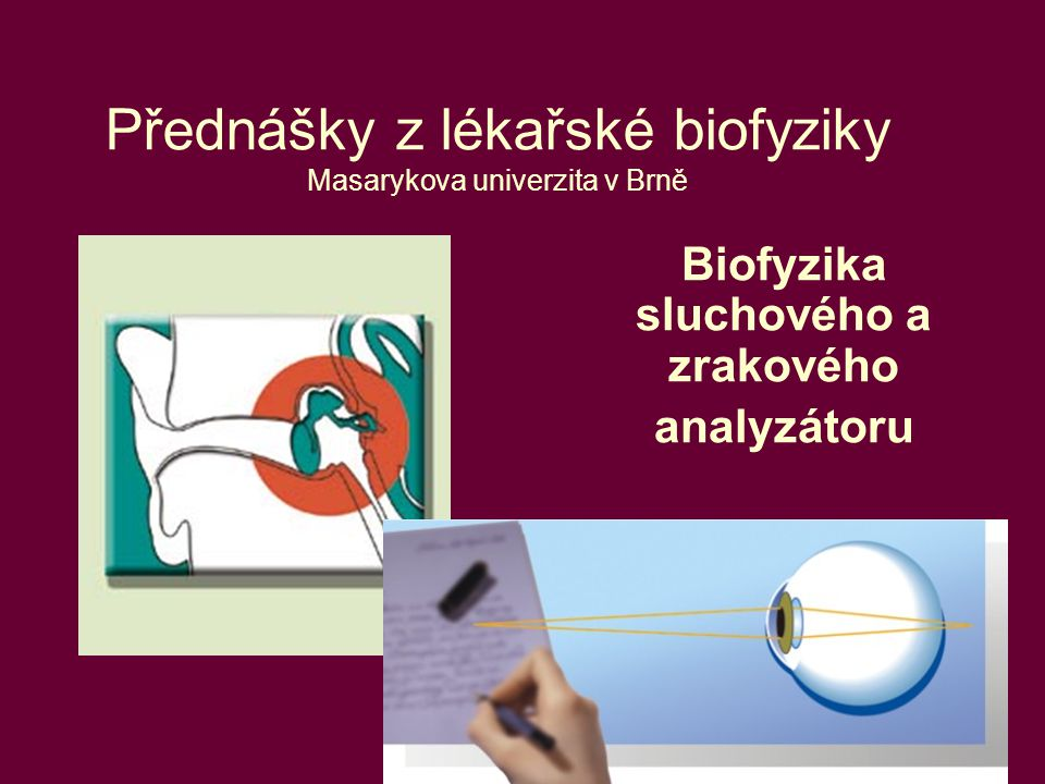 1 Přednášky z lékařské biofyziky Masarykova univerzita v Brně Biofyzika sluchového a zrakového analyzátoru