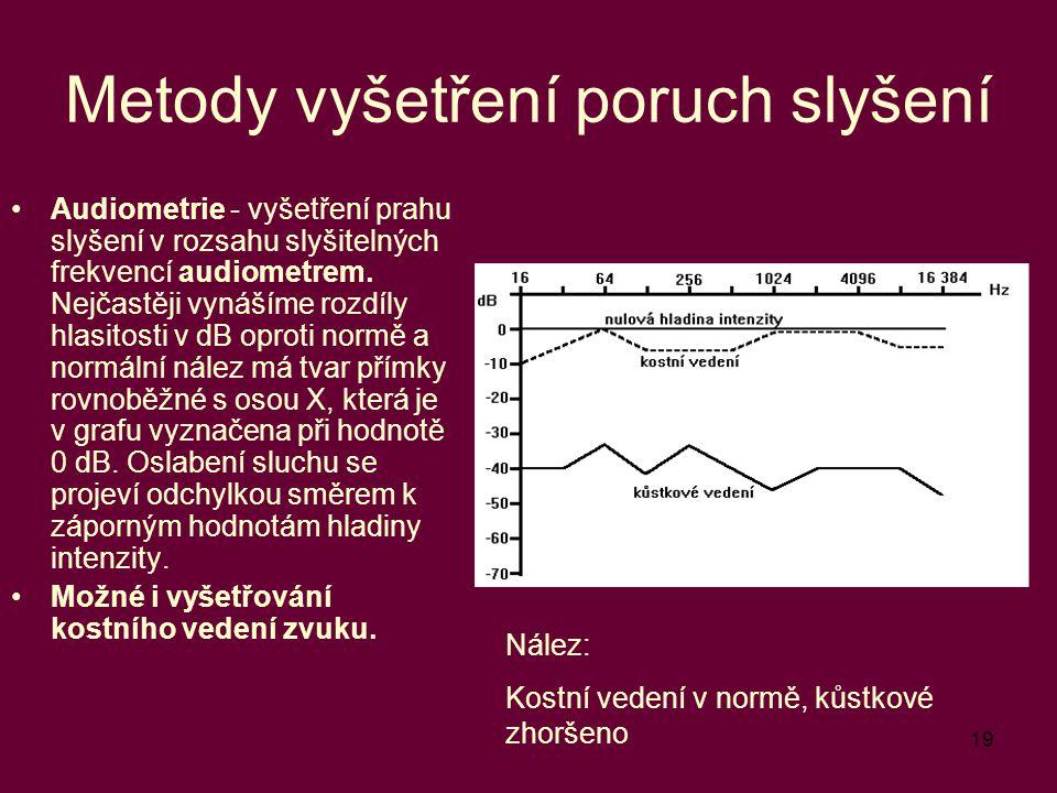 19 Metody vyšetření poruch slyšení Audiometrie - vyšetření prahu slyšení v rozsahu slyšitelných frekvencí audiometrem. Nejčastěji vynášíme rozdíly hla