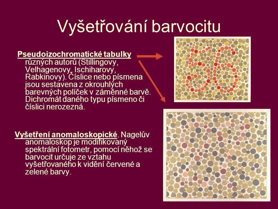 53 Vyšetřování barvocitu Pseudoizochromatické tabulky různých autorů (Stillingovy, Velhagenovy, Ischiharovy, Rabkinovy). Číslice nebo písmena jsou ses