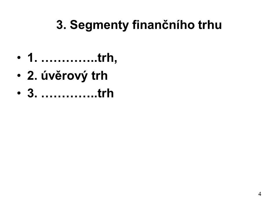 4 3. Segmenty finančního trhu 1. …………..trh, 2. úvěrový trh 3. …………..trh