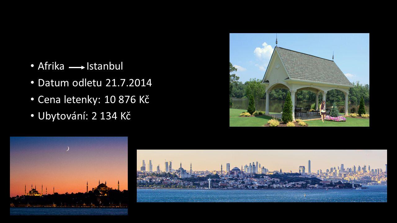 Afrika Istanbul Datum odletu 21.7.2014 Cena letenky: 10 876 Kč Ubytování: 2 134 Kč