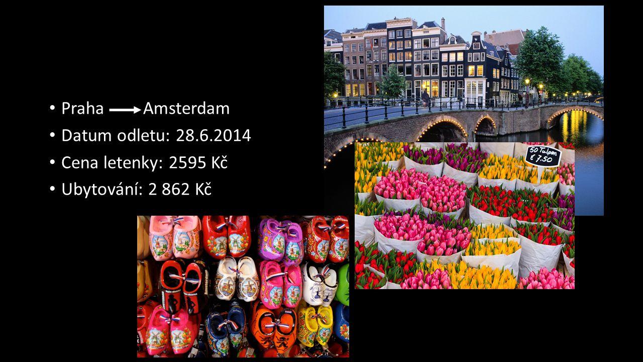 Praha Amsterdam Datum odletu: 28.6.2014 Cena letenky: 2595 Kč Ubytování: 2 862 Kč
