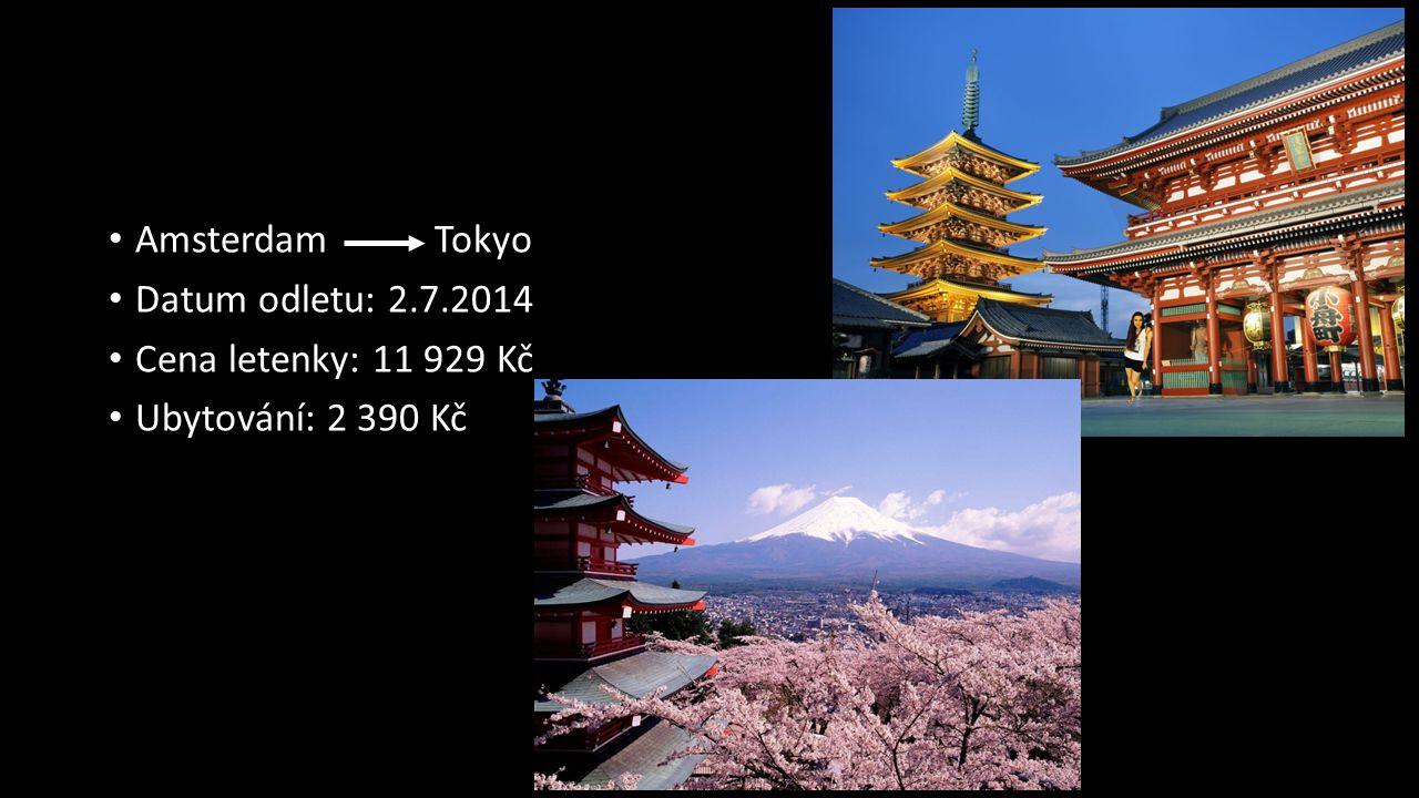 Amsterdam Tokyo Datum odletu: 2.7.2014 Cena letenky: 11 929 Kč Ubytování: 2 390 Kč