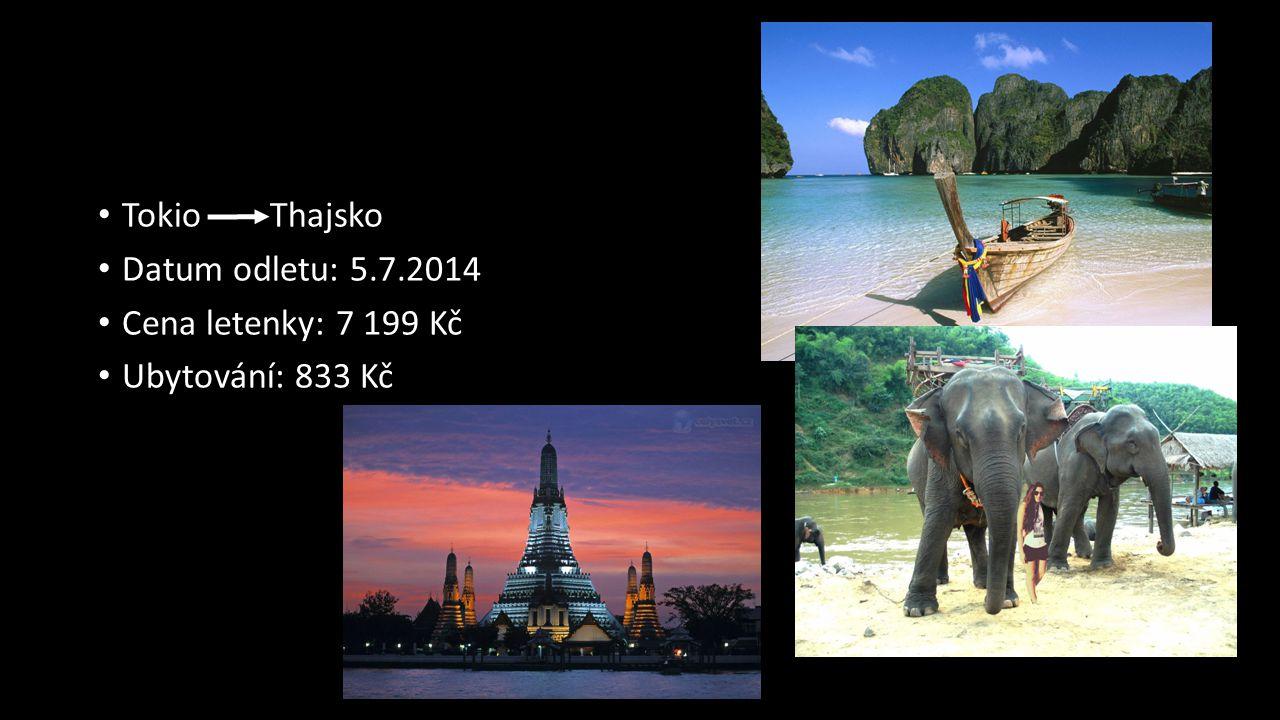 Tokio Thajsko Datum odletu: 5.7.2014 Cena letenky: 7 199 Kč Ubytování: 833 Kč