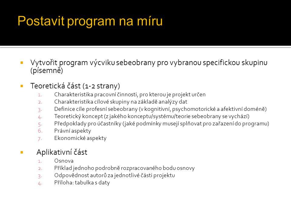  Vytvořit program výcviku sebeobrany pro vybranou specifickou skupinu (písemně)  Teoretická část (1-2 strany) 1.Charakteristika pracovní činnosti, p
