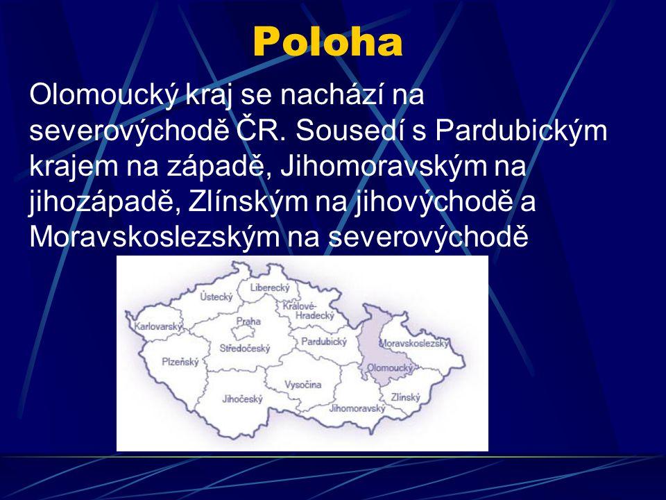 Poloha Olomoucký kraj se nachází na severovýchodě ČR. Sousedí s Pardubickým krajem na západě, Jihomoravským na jihozápadě, Zlínským na jihovýchodě a M