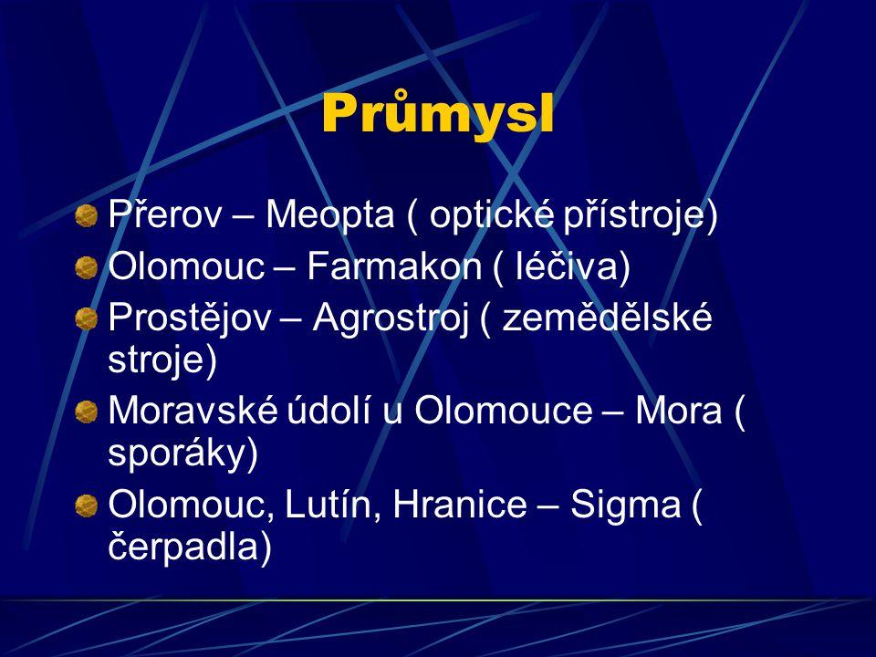 Průmysl Přerov – Meopta ( optické přístroje) Olomouc – Farmakon ( léčiva) Prostějov – Agrostroj ( zemědělské stroje) Moravské údolí u Olomouce – Mora