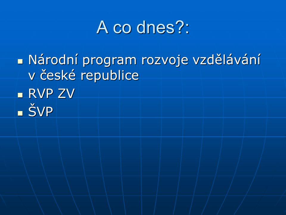 A co dnes?: Národní program rozvoje vzdělávání v české republice Národní program rozvoje vzdělávání v české republice RVP ZV RVP ZV ŠVP ŠVP